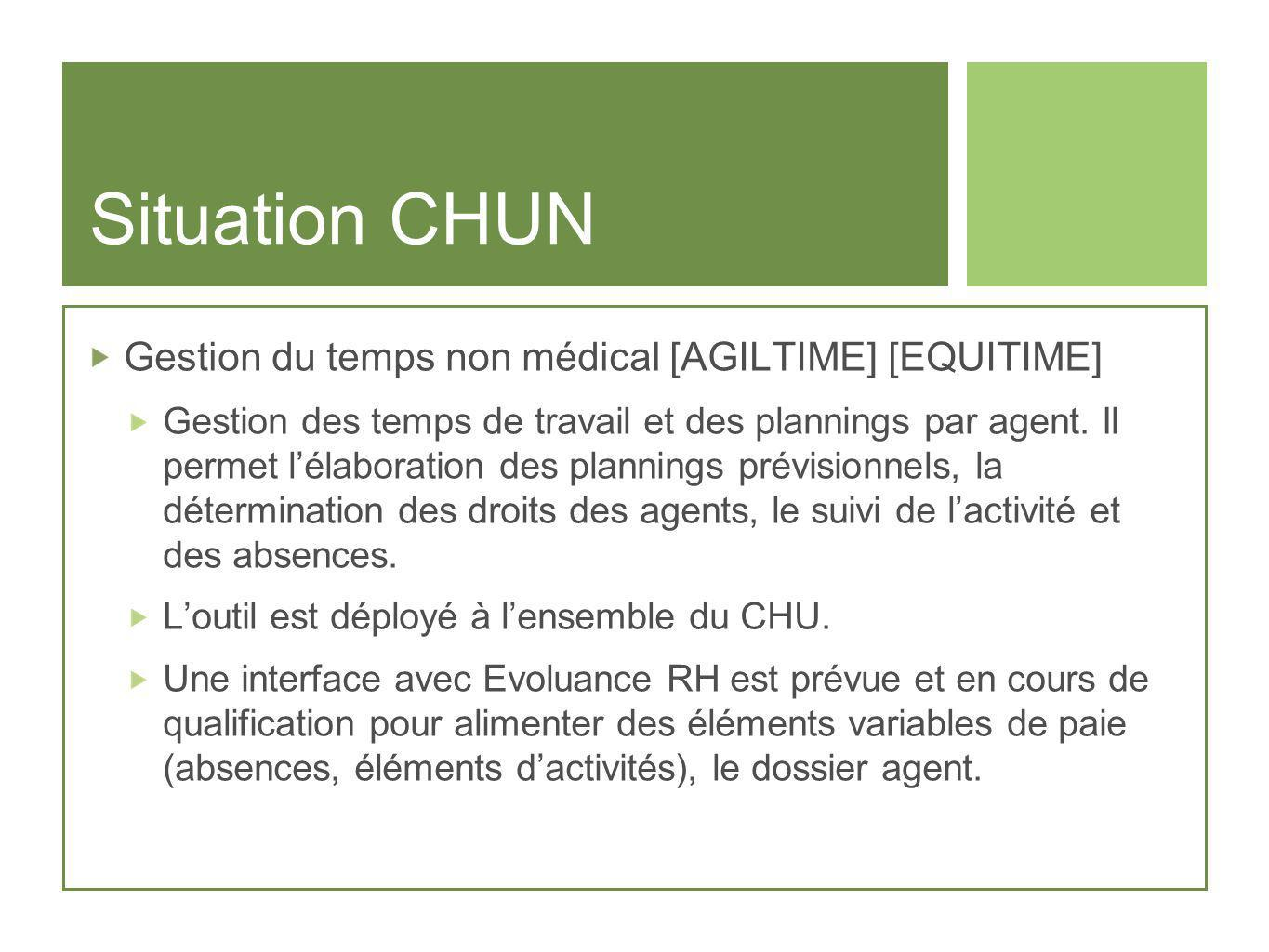 Situation CHUN Gestion du temps non médical [AGILTIME] [EQUITIME]